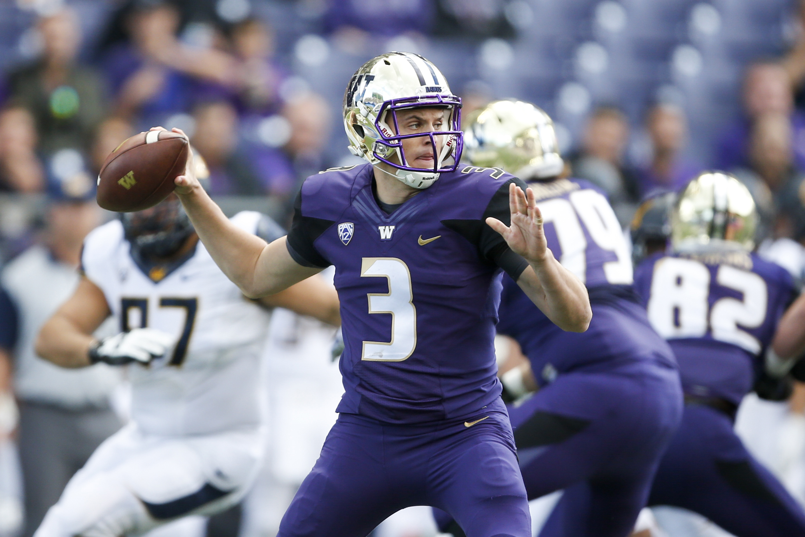 Sep 26, 2015; Seattle, WA, USA; Washington Huskies quarterback Jake Browning (3) throws a pass in the first quarter against the California Golden Bears at Husky Stadium. Mandatory Credit: Jennifer Buchanan-USA TODAY Sports